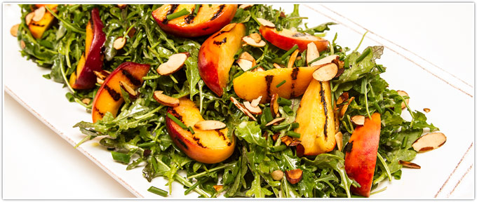 Arugula Salad With Grilled Peaches, Chives & Cider Vinaigrette