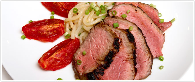 Asian-Infused Sirloin With Five Spice Roasted Tomatoes