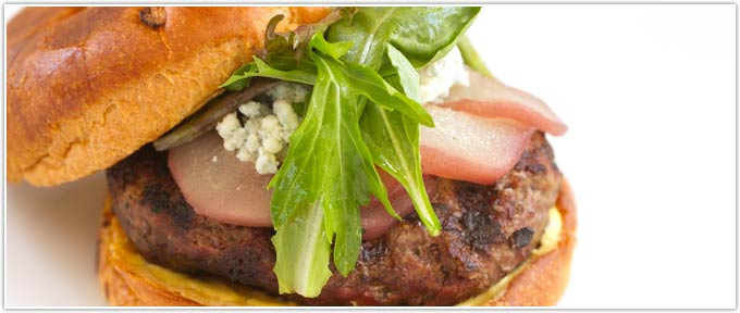 Beef Burger With Poached Pears & Gorgonzola