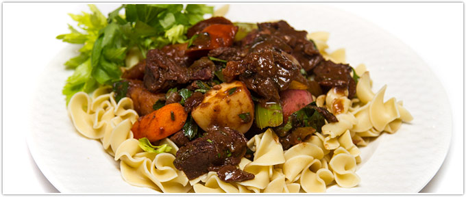 Beef Stew With Potatoes, Carrots, Parsnips & Horseradish
