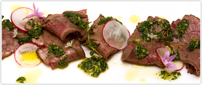 Beef Tenderloin Tataki With Ginger-Cilantro Pesto