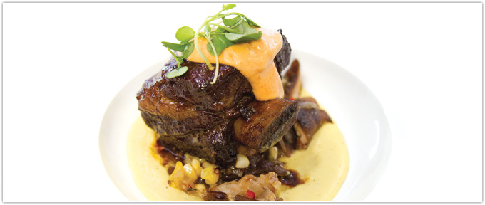 Braised Short Ribs With Corn Puree, Corn & Chanterelle Relish & Smoked Tomato Aioli