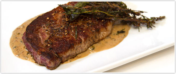 Butter-Basted Ribeye With Au Poivre Sauce