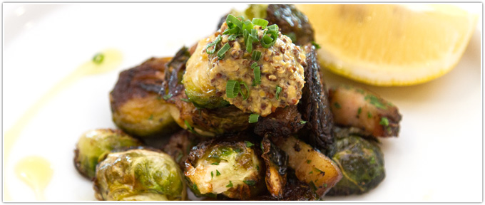 Charred Brussels Sprouts With Garlic & Gorgonzola