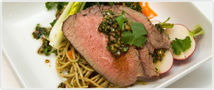 Chilled Steak Salad with Gingered Soba Noodles & Spring Vegetables