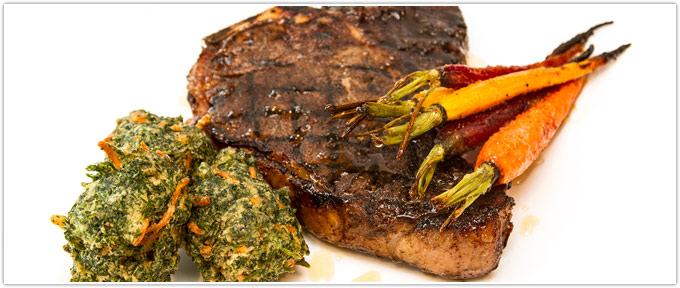 Coffee-Crusted T-Bone Steak, Honey Glazed Ginger Carrots