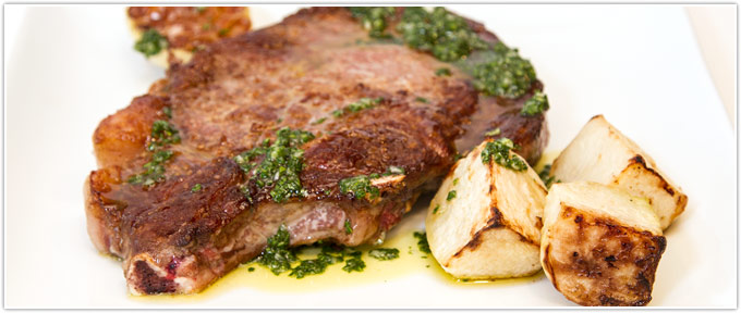 Cowboy Steak With Roasted Kohlrabi & Salsa Verde Picante