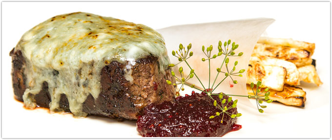 Filet Mignon With Blue Cheese & Cranberry Spice Gastrique