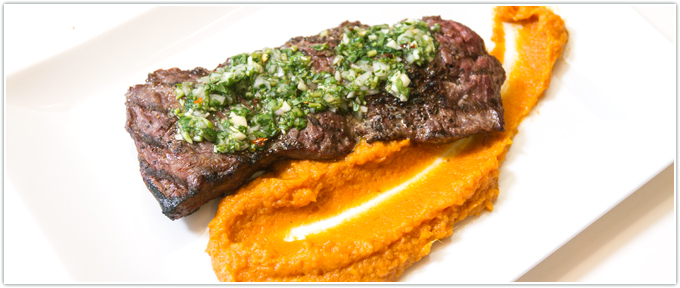 Flank Steak With Watercress Chimichurri