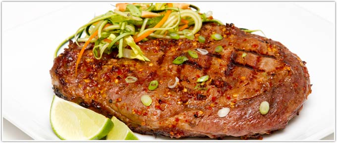Grilled Bone-In Ribeye With Chili Garlic Paste