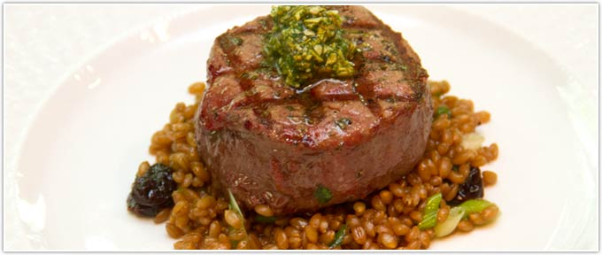 Grilled Filet With Wheat Berry & Cherry Salad