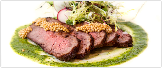 Grilled Flat Iron Steak With Chimichurri & Pickled Mustard Seed