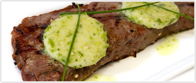 Grilled New York Strip With Horseradish Compound Butter