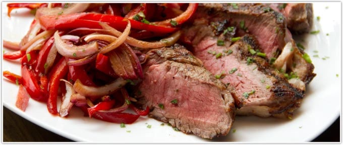 Grilled Ribeye With Onions & Peppers Agrodolce