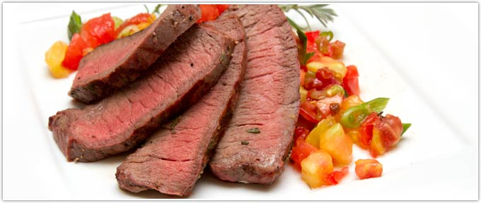 Grilled Sirloin With Tomato-Green Onion Relish