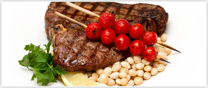 Grilled T-Bone With Garlic, Lemon & Controne Beans