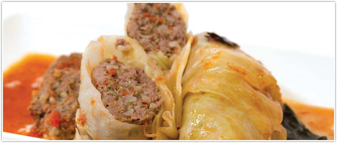 Ground Beef Stuffed Cabbage With Fresh Tomato Sauce