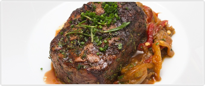 Herb-Rubbed Filet With Piperade