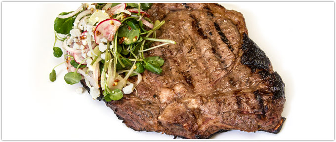Honey-Mustard Grilled Ribeye With Watercress & Blue Cheese Salad