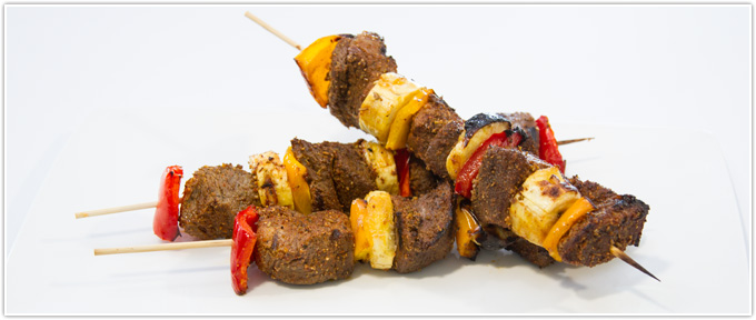 Jerk Beef Kabobs With Spicy Herb Rub