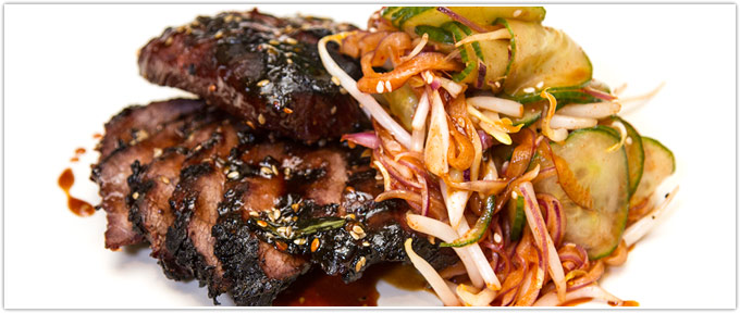 Kalbi-Marinated Flat Iron Steaks With Cucumber Kimchee