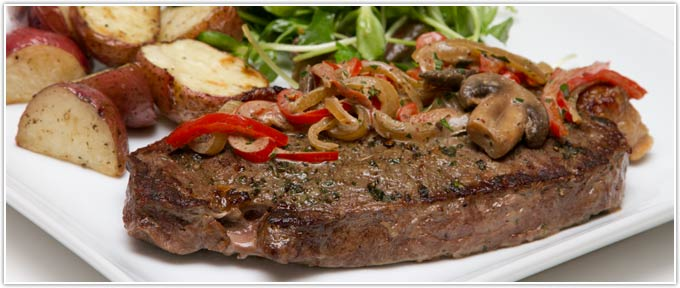 New York Strip Skillet Steaks With Dijon Mushroom Sauce