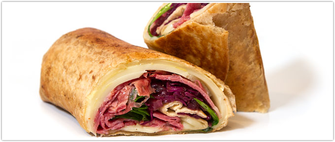 Pastrami Wraps With Sweet & Sour Cabbage & Horseradish Mustard Sauce