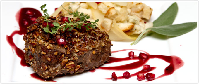 Pecan-Crusted Filet With Pomegranate Sauce