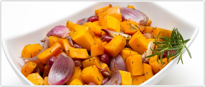 Roasted Butternut Squash With Grapes & Rosemary