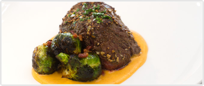 Rosemary & Pumpkin Seed-Crusted Filet With Chipotle Sweet Potato Puree