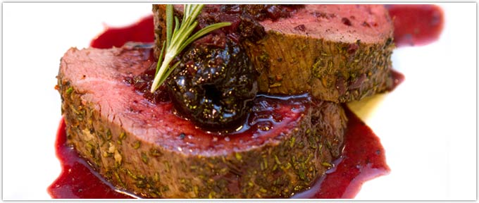 Rosemary Tenderloin Roast With Red Wine Prune Sauce
