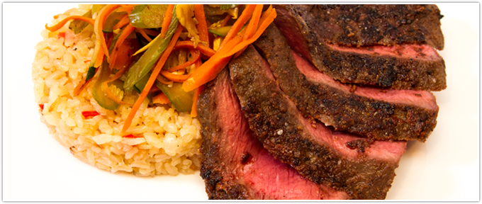 Seared Flat Iron With Rice & Vegetables