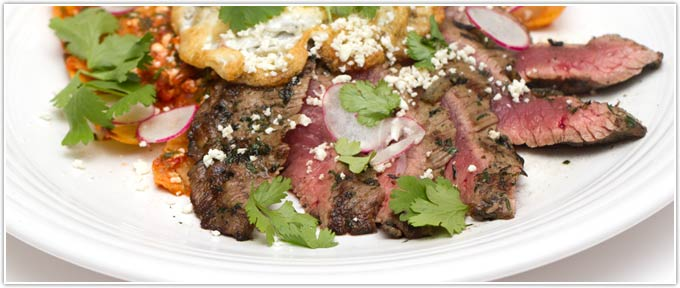 Spicy Grilled Flank Steak With Chilaquiles
