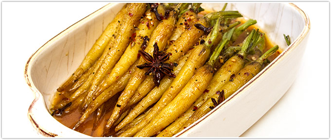 Star Anise and Clove Glazed Baby Carrots