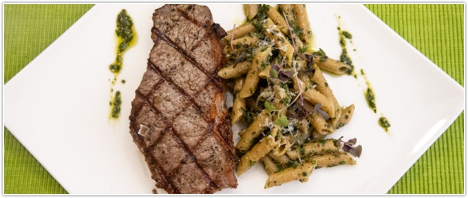 Strip Steak With Pesto Pasta