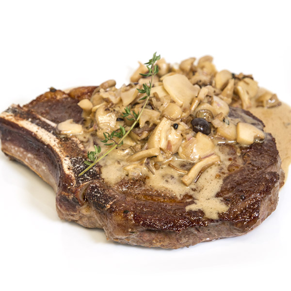 Piedmontese.com | Seared Cowboy Steak With Mushroom Pan Sauce Recipe